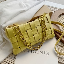 Designer Casual Leather Summer New Fashion Woven Bag Shoulder Bags for Women 2021 Solid Color Chain