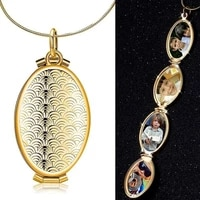 new trendy fish scale pattern oval small box pendant 4 slot photo frame pendant necklace gift two colors