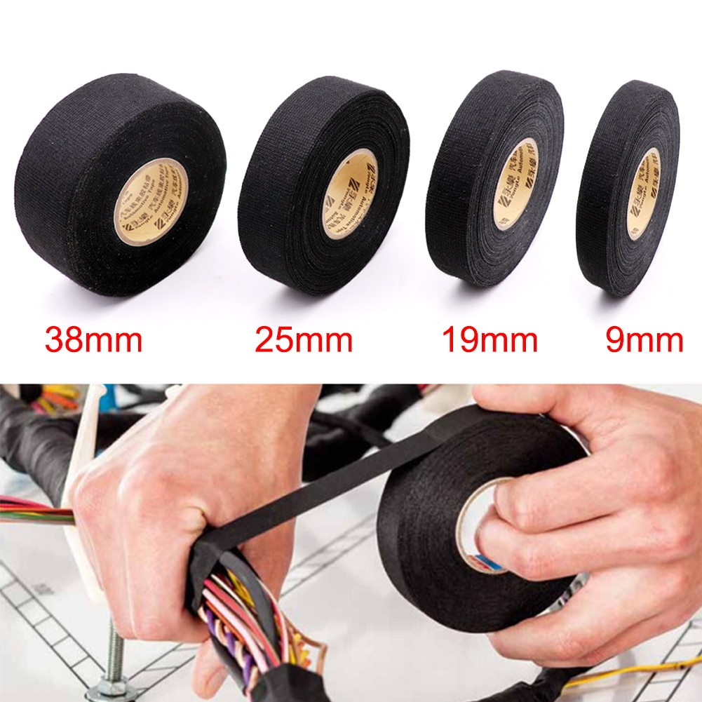 Cinta adhesiva de tela de 15M, Cable resistente al calor, cinta de arnés de cableado, telares, cinta adhesiva de tela, ancho de 9/19/25/38mm