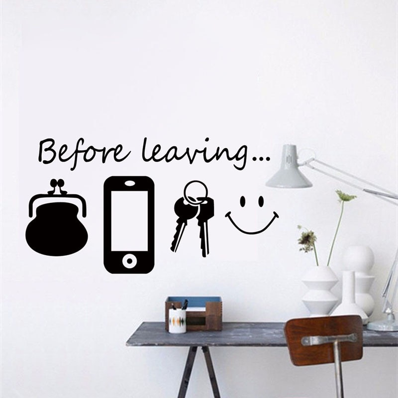 Nuevas llaves de vinilo para móvil Español, antes de dejar el salón, sofá, Fondo de pared, arte autoadhesivo, pegatinas de papel de pared moderno