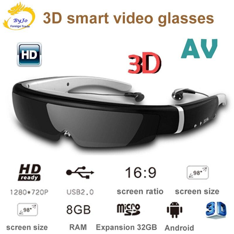 IVS-2 3D-نظارات ذكية VR ، نظارات فيديو الكل في واحد ، شاشة 98 بوصة ، مسرح محمول ، ذاكرة 8G ، إدخال AV ، مشاهدة الأفلام عالية الدقة