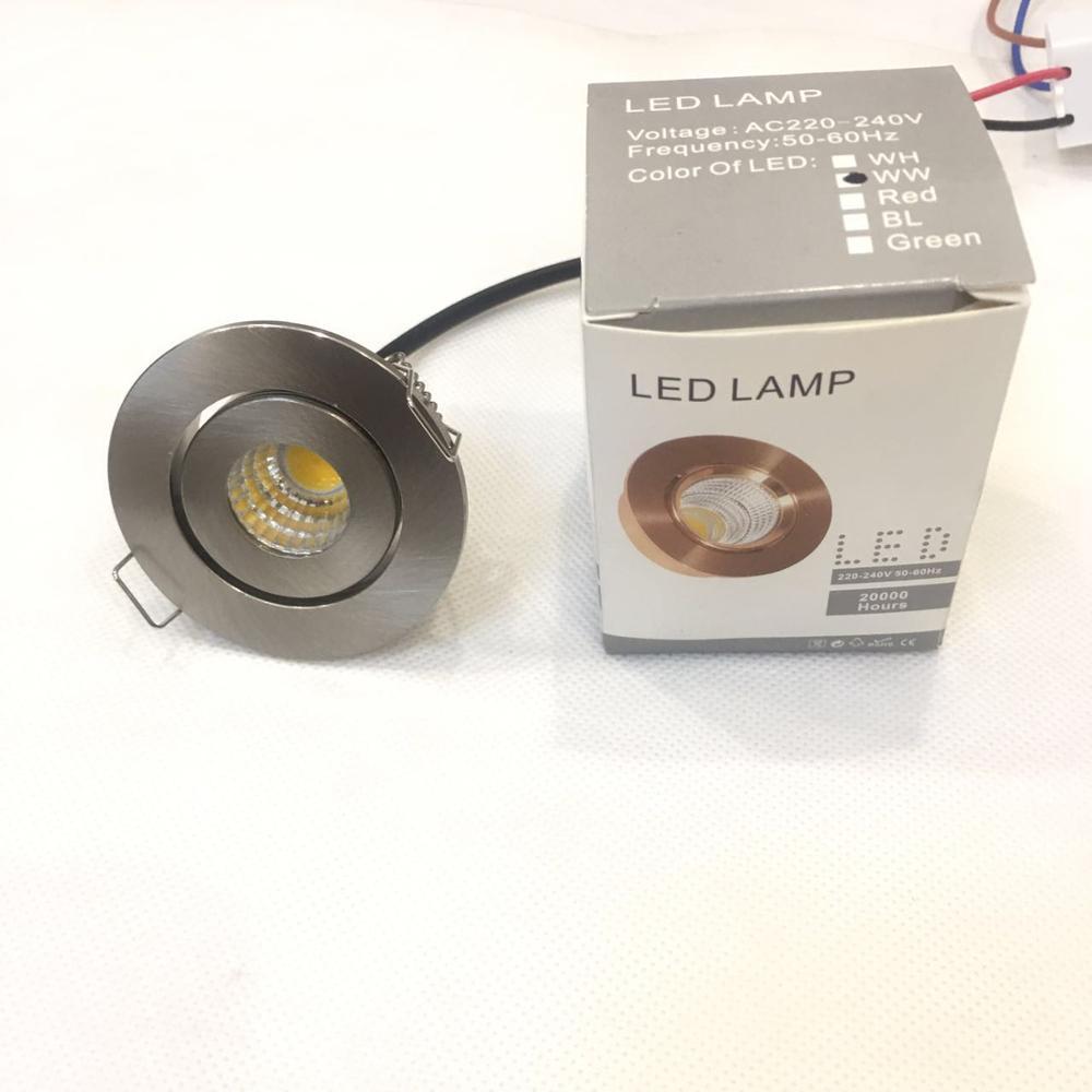 1pcs/lot 3W Small Led Downlights Recessed Mini Adjustable Cob Cabinet Spot Lights Hole Size 40-45mm