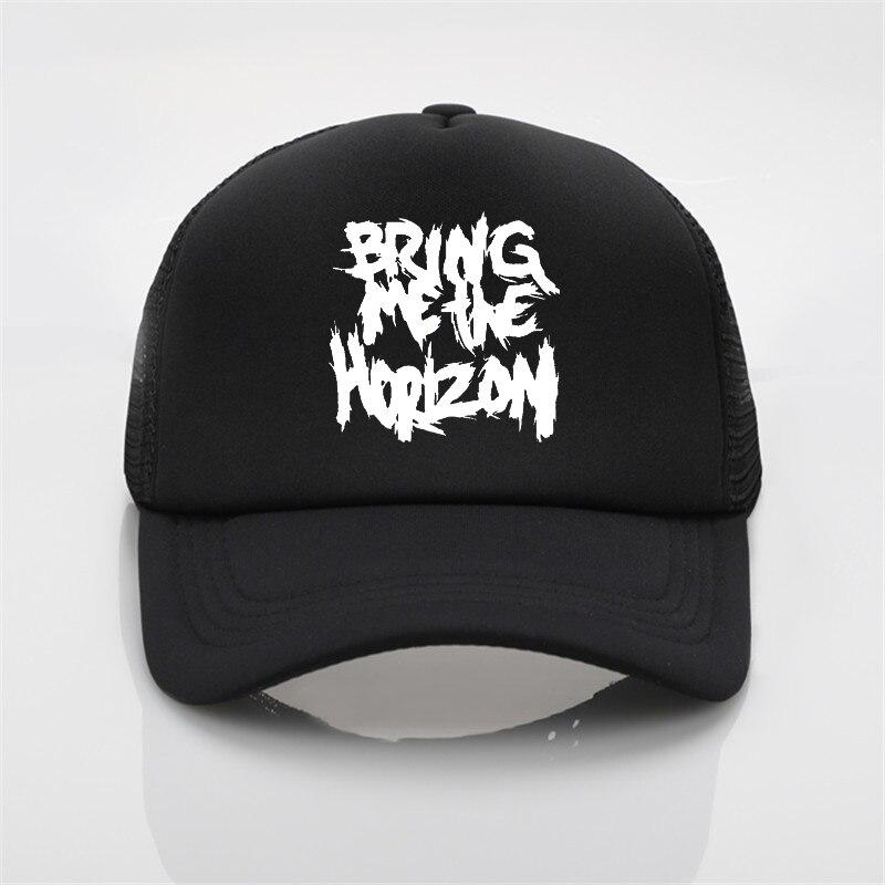 Sombrero de red de moda Bring Me The Horizon Band impresión gorra de béisbol hombres y mujeres verano tendencia gorra sombrero de sol playa visera sombrero
