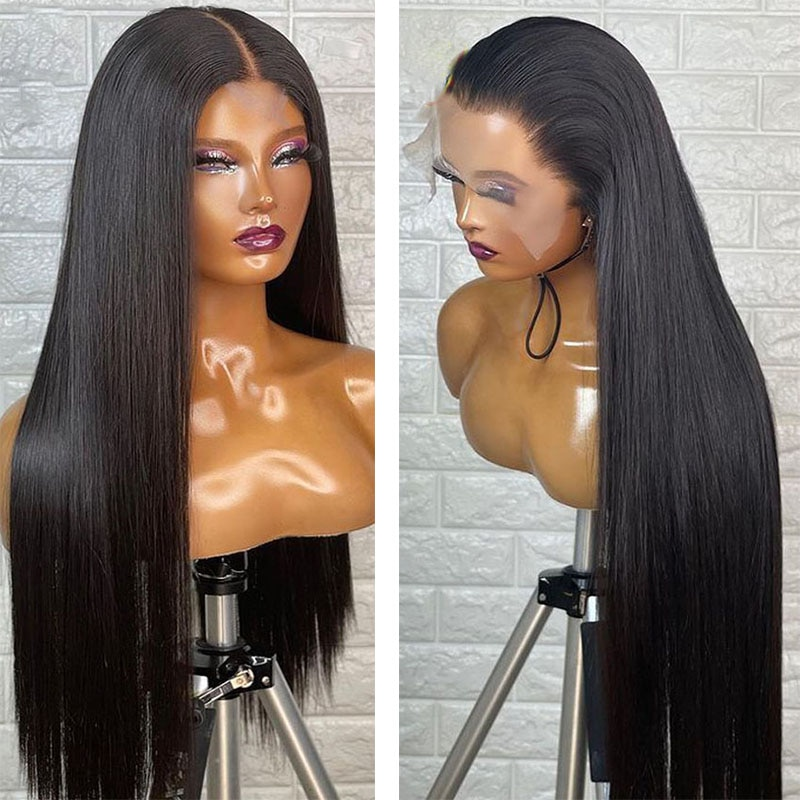 Natural Hairline Synthetic Lace Front Silky Straight Wigs with Baby Hair Heat Resistant Fiber Hair Lace Wig Daily Wear