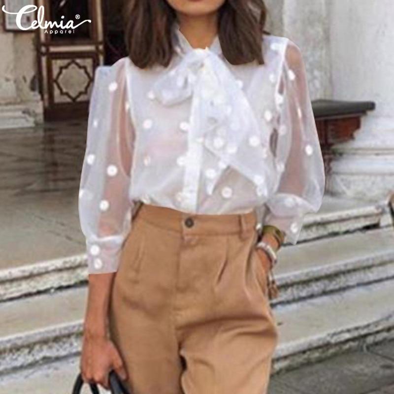 Women Tops and Blouses 2020 Celmia Sexy Sheer Mesh Polka Dot Elegant Office Shirts Summer Bow Tie Blusas Femininas Plus Size 5XL