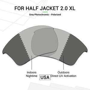 Mryok POLARIZED Replacement Lenses (from USA) for Oakley Half Jacket 2.0 XL Sunglasses Grey Photochromic