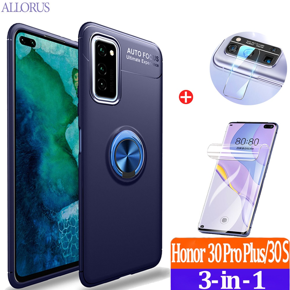 3-in-1 luxury Phone Case For Honor 30 Pro Plus Case Ring Stand Holder Case+Hydrogel Film+Camera,Soft Matte Silicone Original Back Protective Cover Hyawei P30 Pro P 30 Lite Honor 30S Honor30 S Ring Magnetic Cases