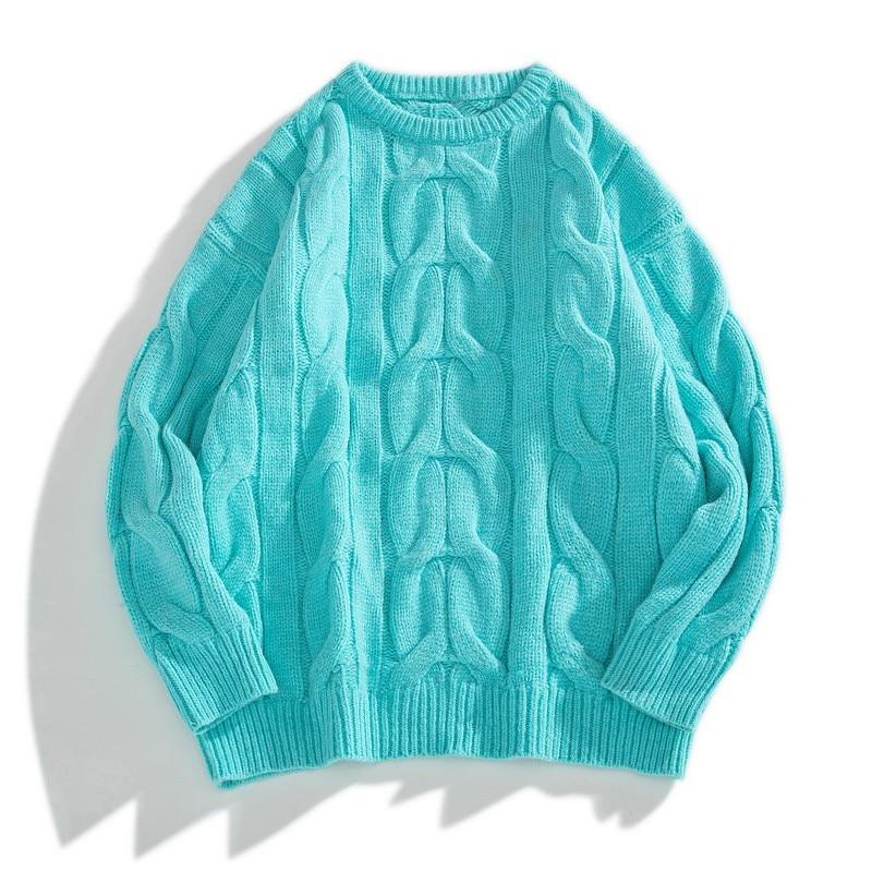 Свитер мужской однотонный с длинным рукавом, Модный Повседневный пуловер оверсайз с круглым вырезом, осень