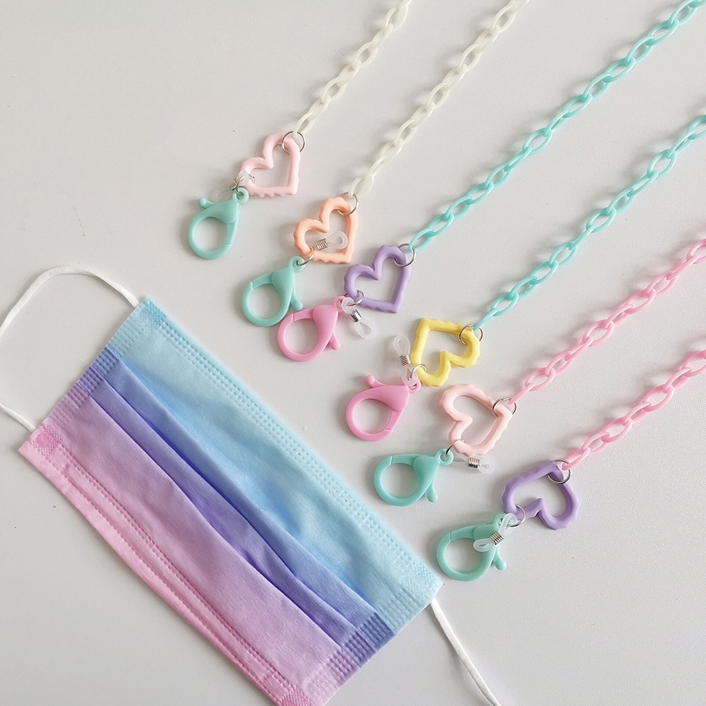 New simple candy color acrylic pure chain lanyard necklace glasses chain lanyard