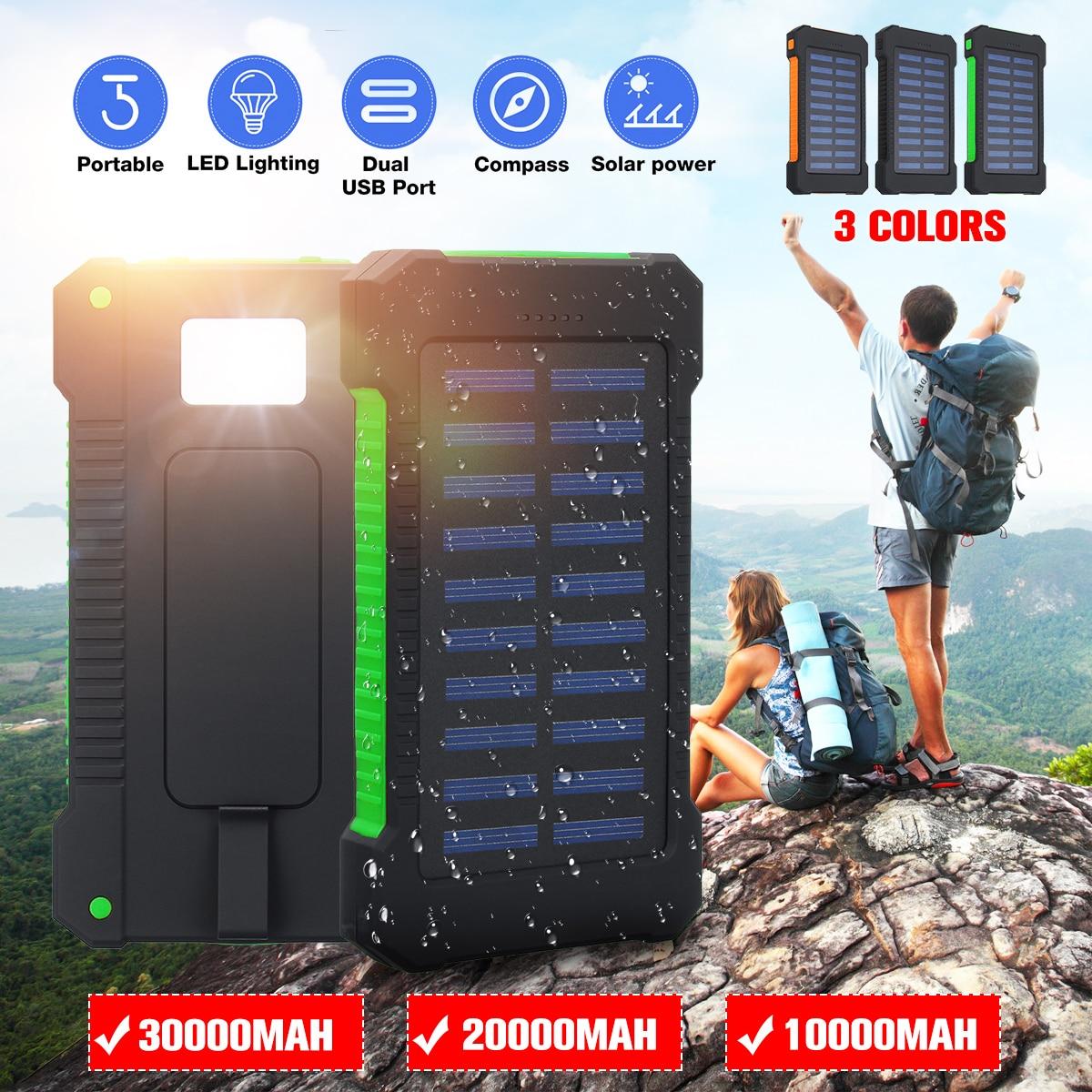 Cargador Solar impermeable del Banco de la energía Solar de 30000 mah/20000 mah con la luz del LED de las compresas 2 cargador externo del viaje del Usb