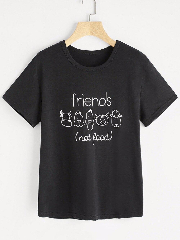 Amigos não comida camiseta vegan t camisa buceta tumblr 90s moda feminina tees slogan gráfico topos camisetas tumblr tshirt-l092