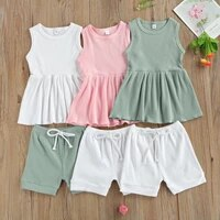 2pieces kids soft casual clothing set baby girls solid color ribbed round neck sleeveless tops short pants for summer 2 7 years