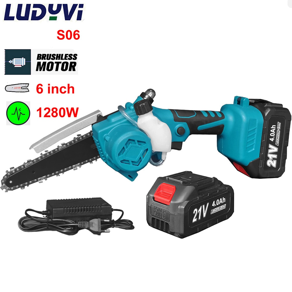 Brushless Electric Saw 1280W 6Inch 6M/S Chain Saw 21V 4000mah Battery Cordless Chainsaws Woodworking Tools Garden Trimmer