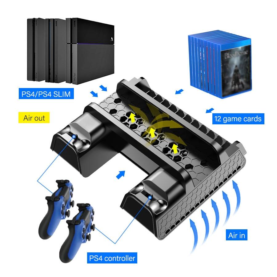 DOBE PS4/PS4 سليم/PS4 برو العمودي حامل تبريد محطة تحكم مزدوجة شاحن لعبة تخزين مروحة التبريد لسوني بلاي ستيشن 4