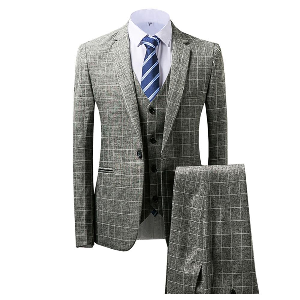 Grey/Brown Men's Suits 3 piece Plaid England Style Notched Lapel Business for Wedding Suits Men 2019 (Blazer+Vest+Pant)