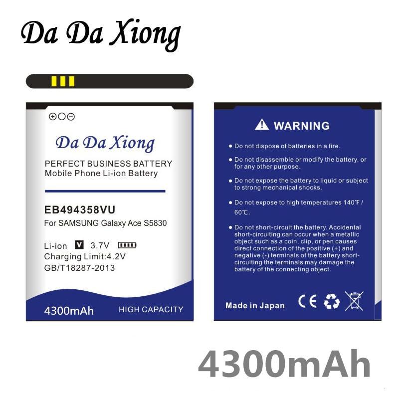 4300mAh EB494358VU batería para Samsung Galaxy Ace 5830 S6802 B7510 i569 i579...