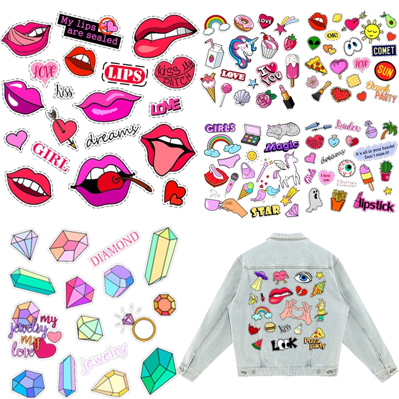 Sexy Lips Patches Unicorn Thermal Stickers on Clothes Iron-on Transfers for Clothing Thermoadhesive Patch Diy Applique for Dress