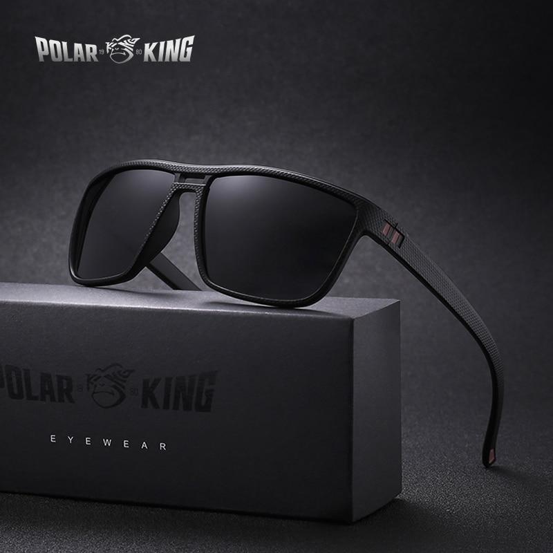 POLARKING Brand Retro Polarized Sunglasses For Men Plastic Oculos Men's Fashion Square Plastic Sun Glasses Driving Eyewear