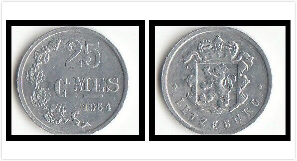 Люксембург 25 центов монеты ЕС Европейская оригинальная коллекция монет