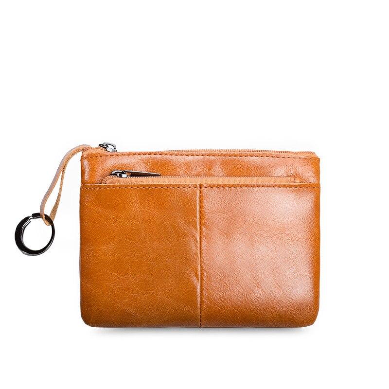 Ougger Mini monedero pequeño para mujer, monedero suave sólido ultrafino Vintage cuadrado con cremallera, monedero pequeño para hombre con correa