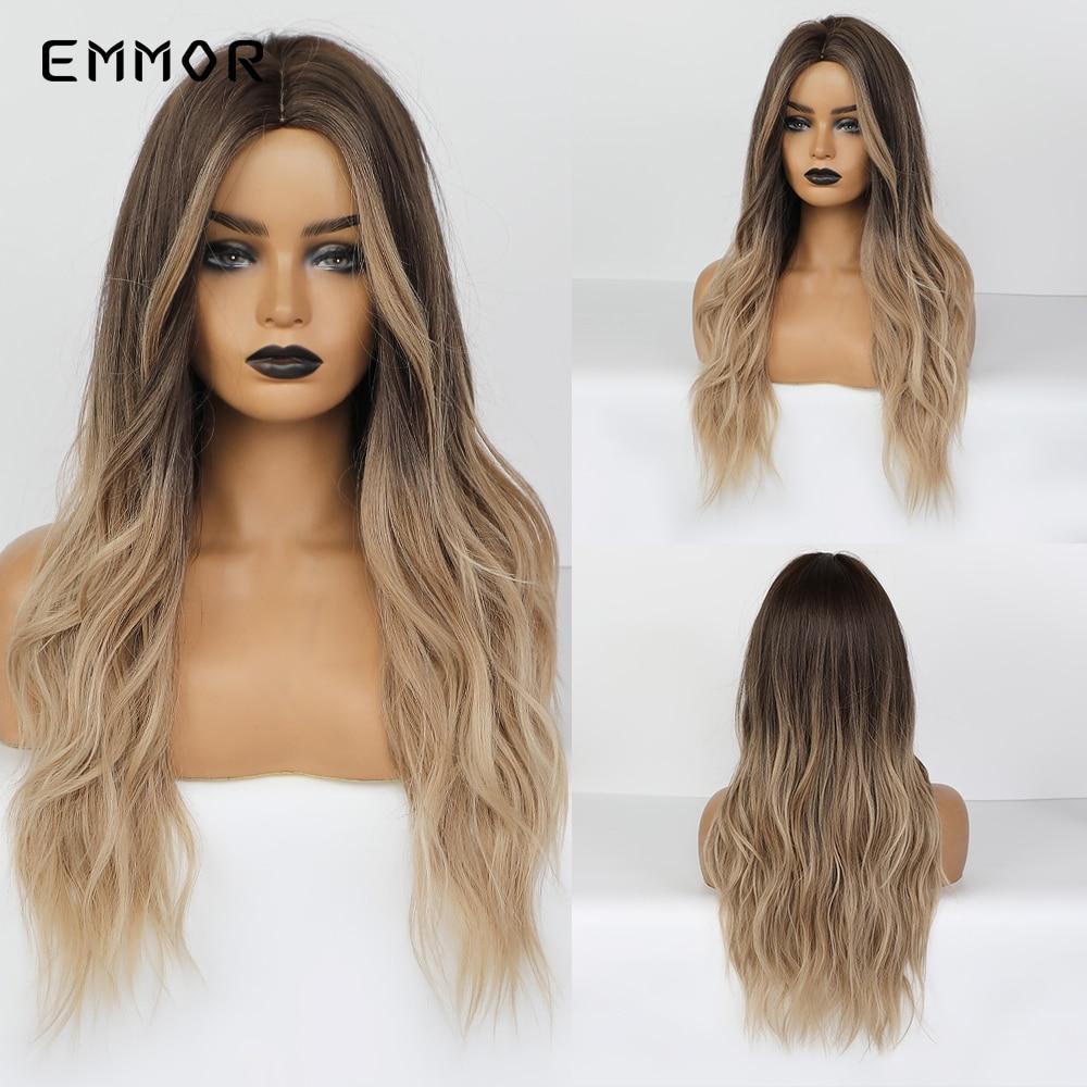 Empor longo meio parte solta onda ombre cinza loira perucas de cabelo sintético uso diário cosplay perucas para mulher fibra resistente ao calor