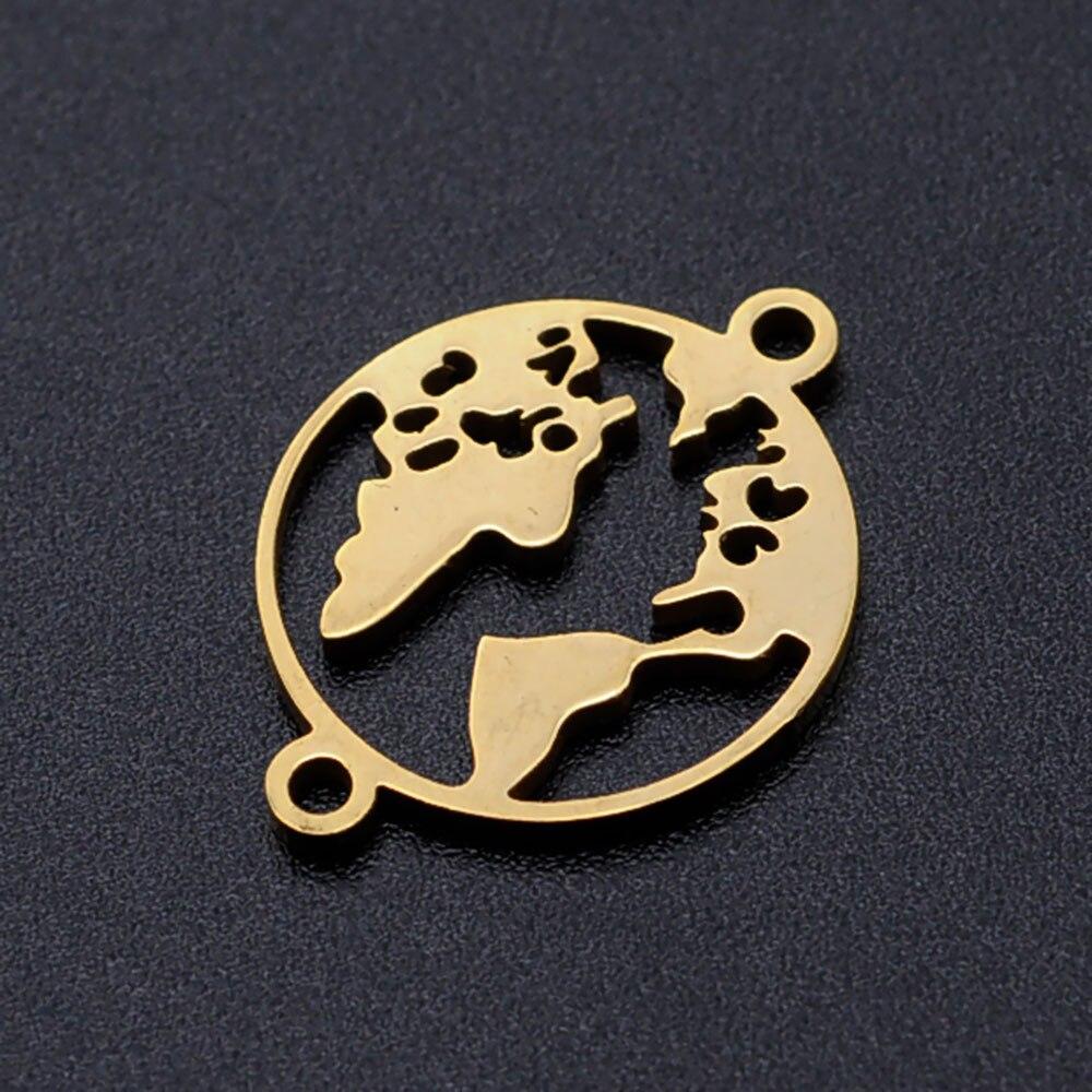 5 unids/lote mapa del mundo diy conector encantos al por mayor 100% Acero inoxidable joyería suministros personalizado encontrar conectores nunca se oxida