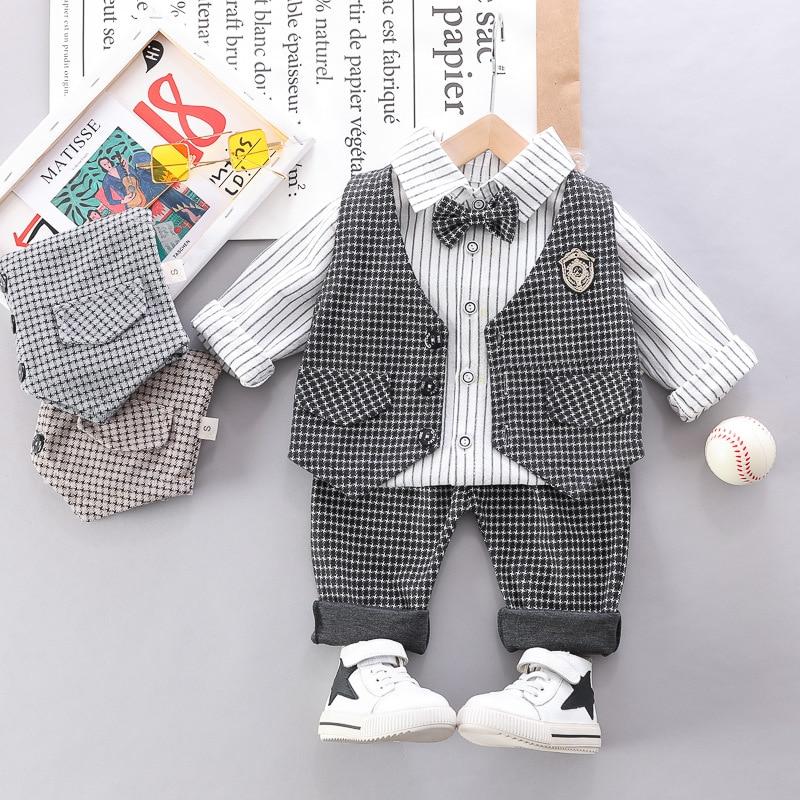 HYLKIDHUOSE 2020 Spring Boys Clothing Sets Plaid Vest Lapel Shirt Pants 3 Piece Baby Infant Clothes Children Casual Costume