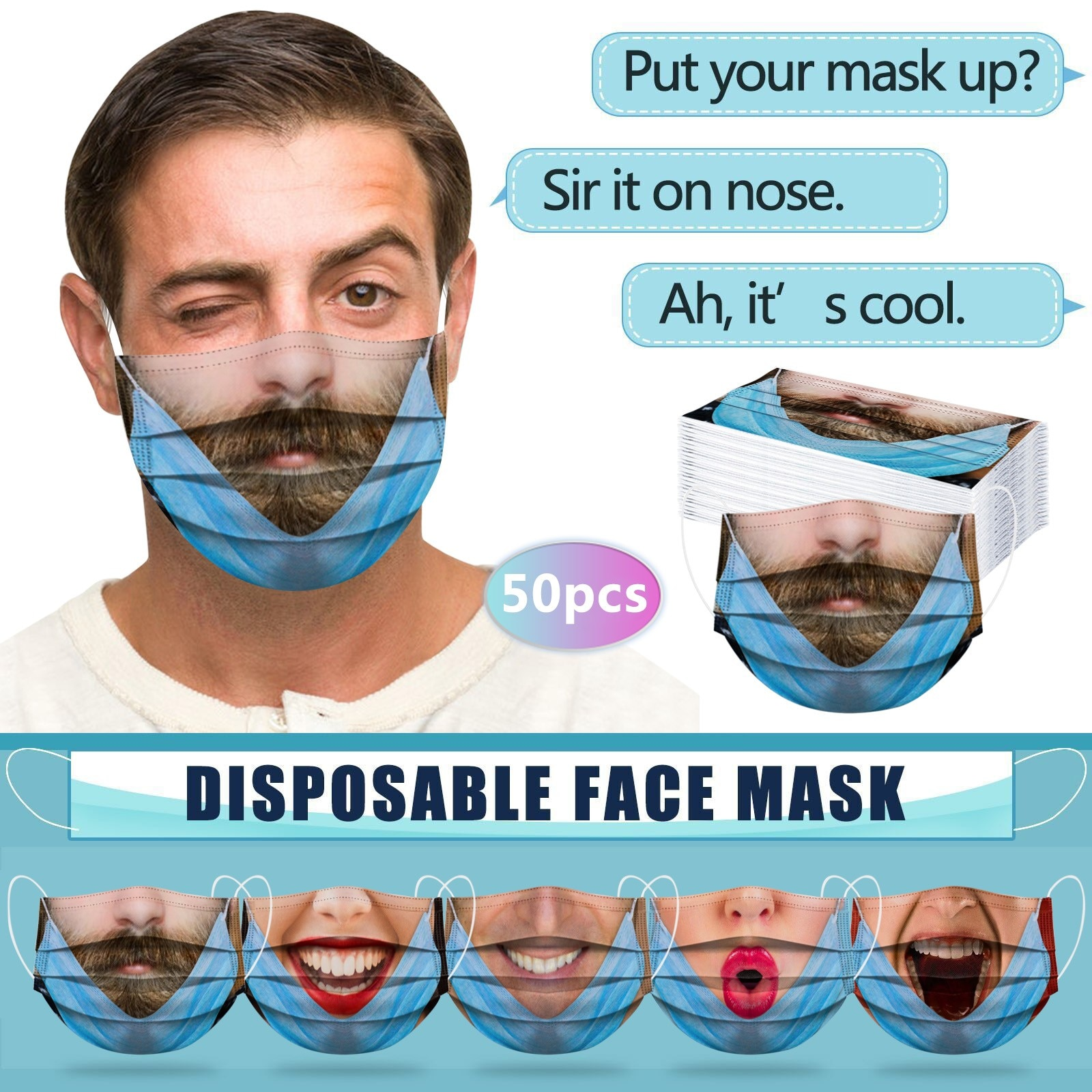 50PCS Adult mascarillas Dustproof Protective Cartoon Printing Disposable Face Mask Health Care 3 Ply