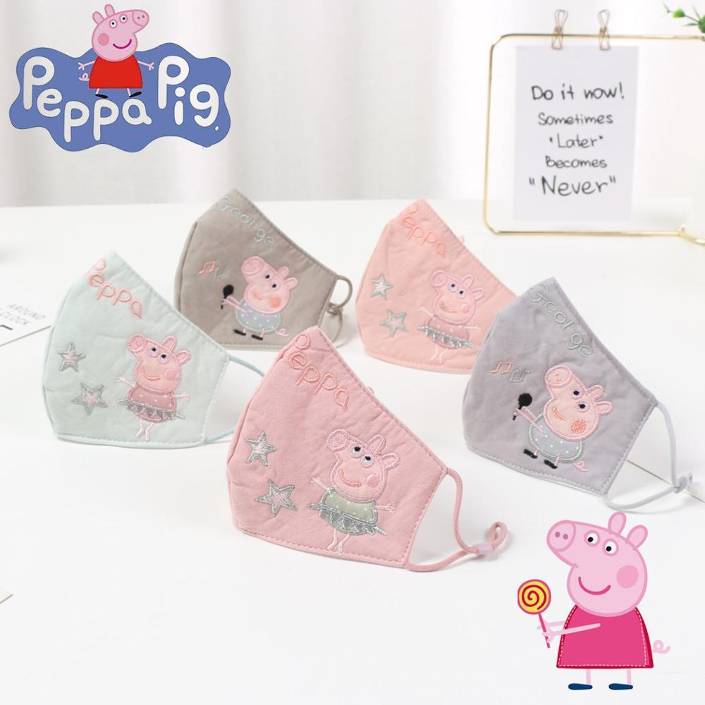 Dibujos Animados Peppa Pig Anime figura Cute máscaras de algodón fiesta festivo respirador mantener caliente algodón Cute Mask camuflaje Anti polvo boca