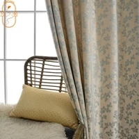 modern curtains for living dining room bedroom simple imitation chenille blue jacquard curtains finished product customization