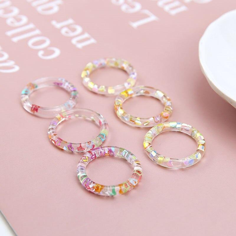 10 pcs estilo coreano bonito transparente oco anel inlay lantejoulas em forma de coração estrela brincos de resina para mulher diy jóias acessórios