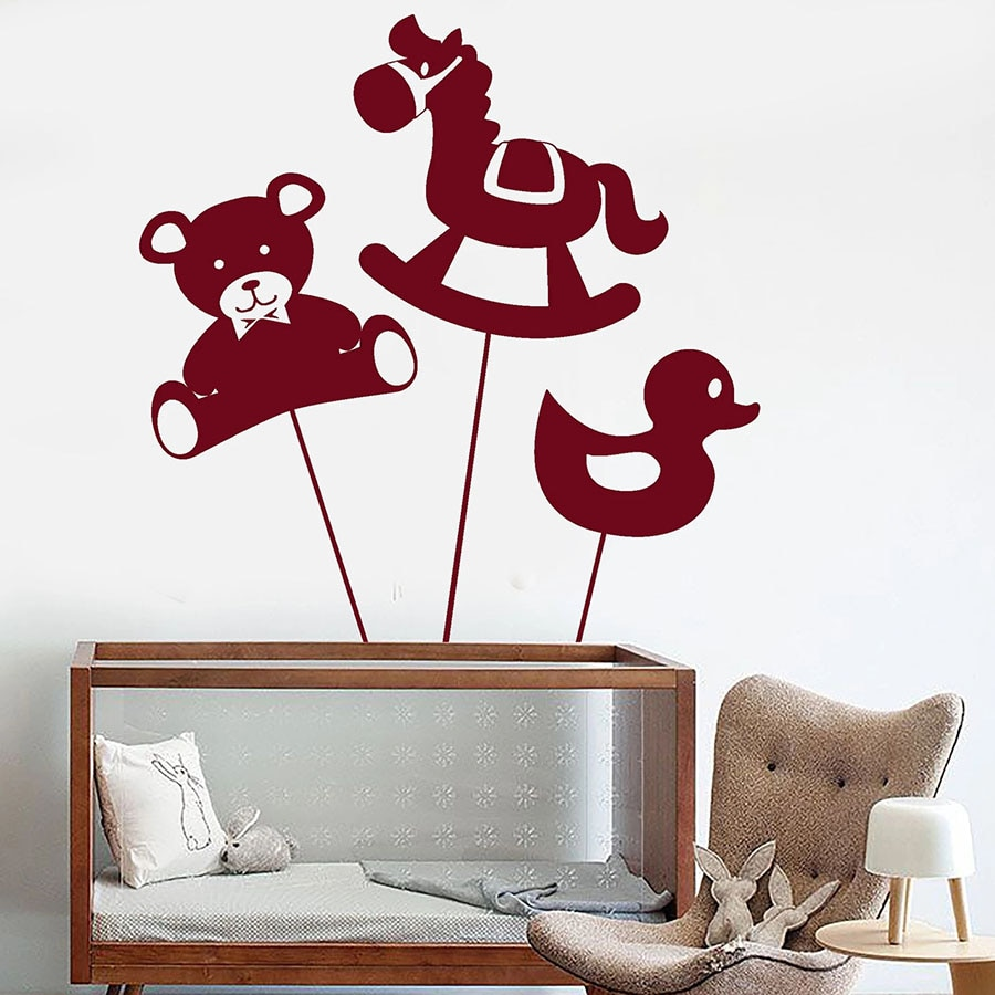 Calcomanía de pared infantil lindo oso caballo pato juguetes animales tema guardería zona de juegos niños dormitorio hogar Decoración vinilo pegatinas de pared m315