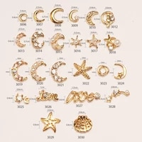 10pcs gold moon star shaped 3d charms for nails 3d alloy nail art crystal rhinestones jewelry for manicure nail accessories