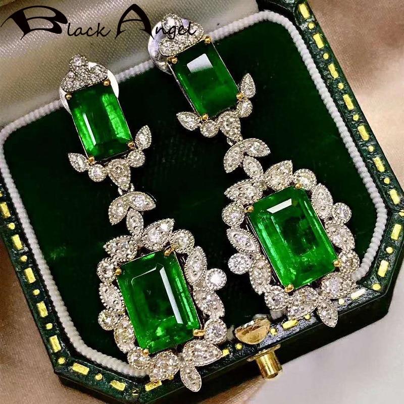 Anjo preto 925 prata esterlina inset princesa praça verde pedra preciosa luxo esmeralda brincos longos para mulheres jóias presente
