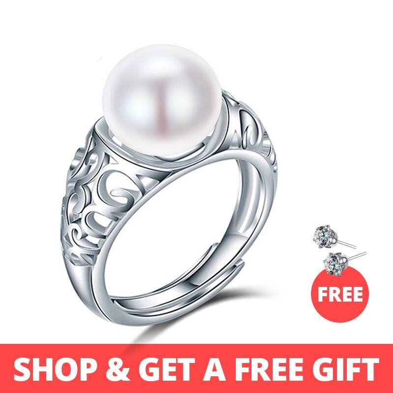 Dainashi top marca de lujo de calidad plata de ley 925 natural perlas de agua dulce anillos ajustables para las mujeres moda joyería fina