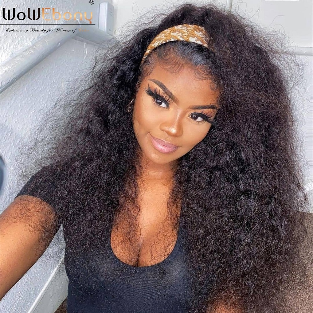 Natural kinky curly human hair deep part wigs remy 13x1 t part curly lace front wigs for black women 250 density lace preplucked