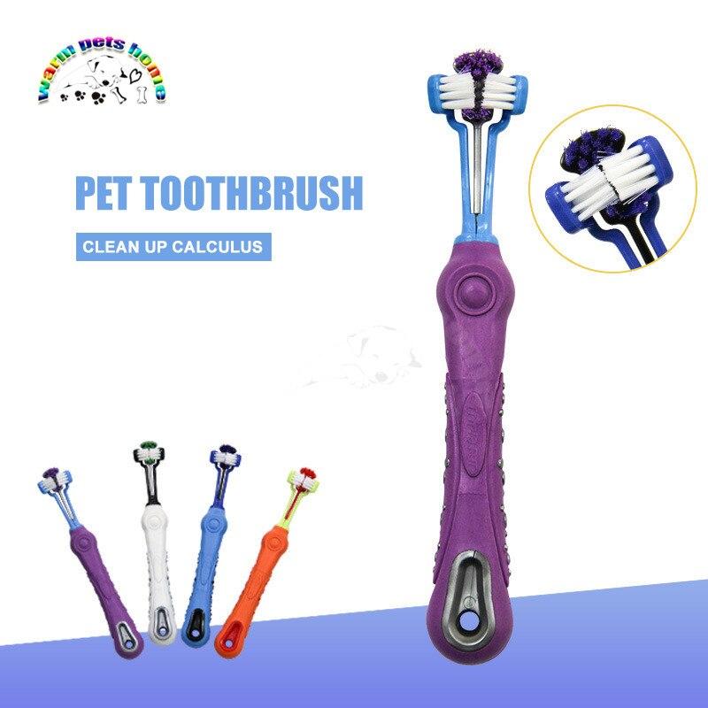 12 Uds 3 de perro mascota cepillo de dientes mal aliento tártara cuidado de los dientes de gato para gato Limpieza de dientes de perro cepillo de dientes suave para mascotas