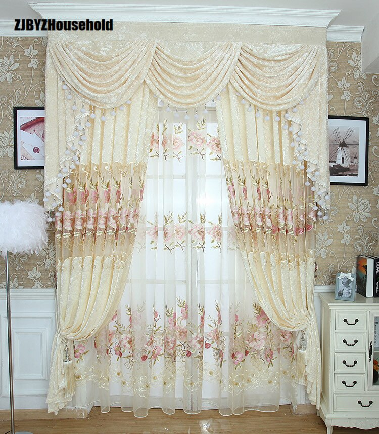 Cortinas bordadas de terciopelo con Flor de hielo bordada para sala de Estar, comedor, dormitorio cenefa, Jardín Europeo