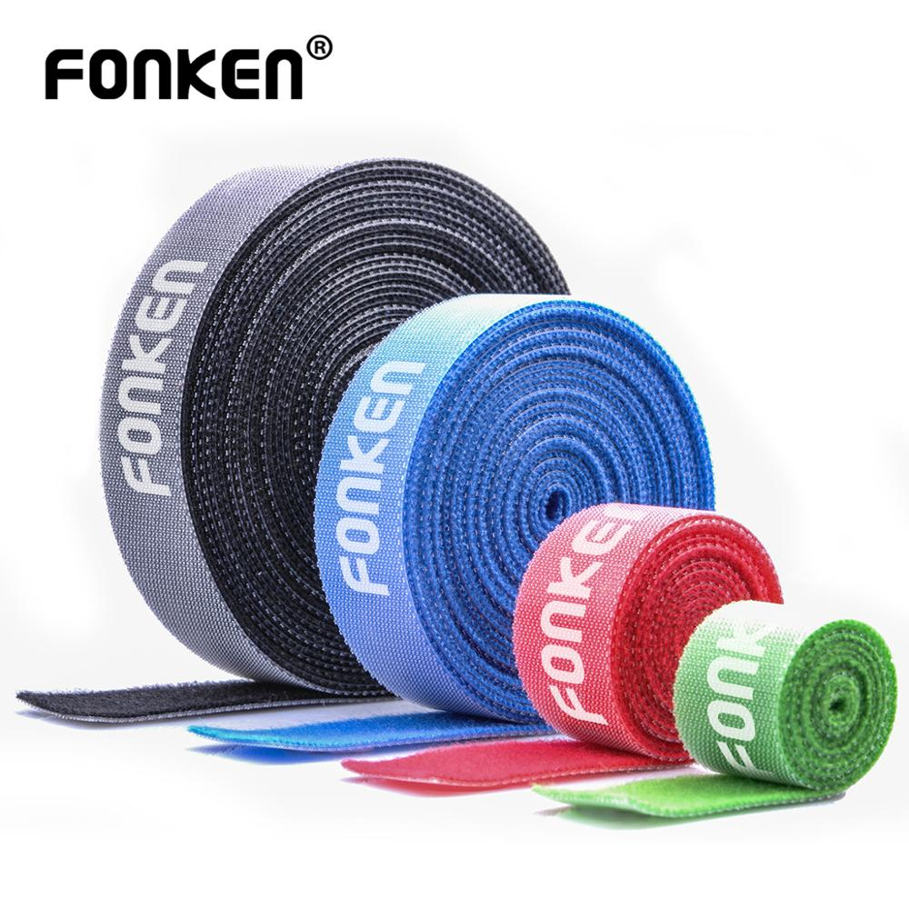 FONKEN USB Cable Winder Cable Organizer Ties Mouse Wire Earphone Holder PC Cord Free Cut Management Phone Hoop Tape Protector