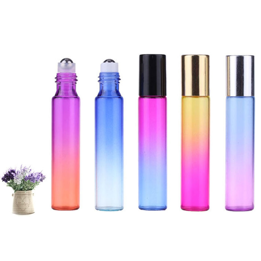 5Pcs/Set Multicolor Essential Oil Roller Bottles with Roller Balls Aromatherapy Perfumes Lip Balms Roll On Bottles 10ml