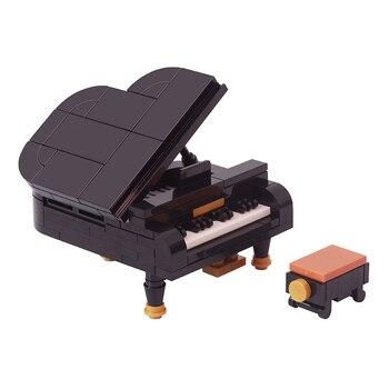 122Pcs City Piano DIY Model Building Blocks Piano Chair Pianist Figures Creativity Bricks Toys For Children Kids Decoration