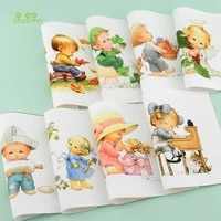 chainhohand dyed cotton fabriccartoon seriesfor diy sewing quiltingpursebagbook coverhome decoration material15x15cm