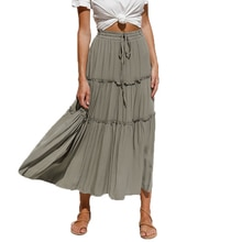 Pleated Skirt Women Summer Casual Lace-Up Elastic Waist Midi Skirt Woman Patchwork Ruffles High Wais