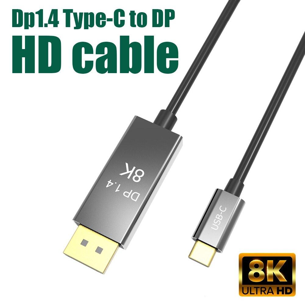 Usb C Dp 1.4 Kabel Type-C Naar Displayport 1.4 8K 30Hz 4K 144Hz USB3.1 type C Thunderbolt 3 Naar Dp Kabel Adapter Voor Macbook Huawei