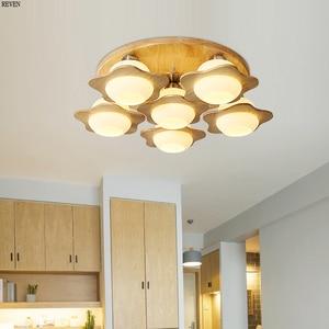 Скандинавский светодиодный деревянный потолочный светильник в Звездном стиле, лампа для гостиной, светодиодный потолочный светильник для ...
