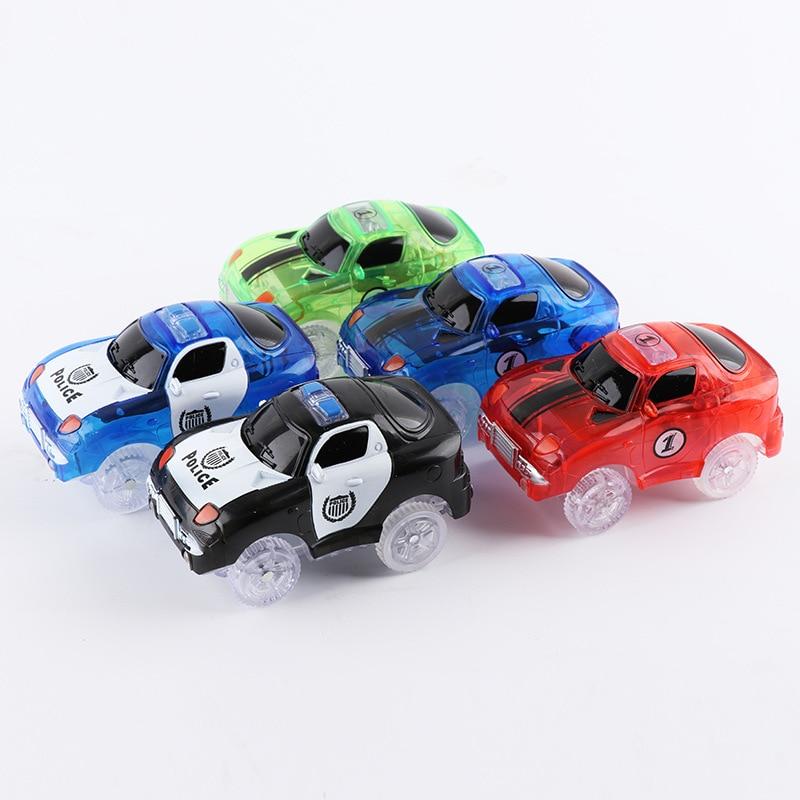 5,4 cm magia electrónica LED juguetes de coches con luces intermitentes juguetes educativos electrónica de las luces del coche brillante de juguete
