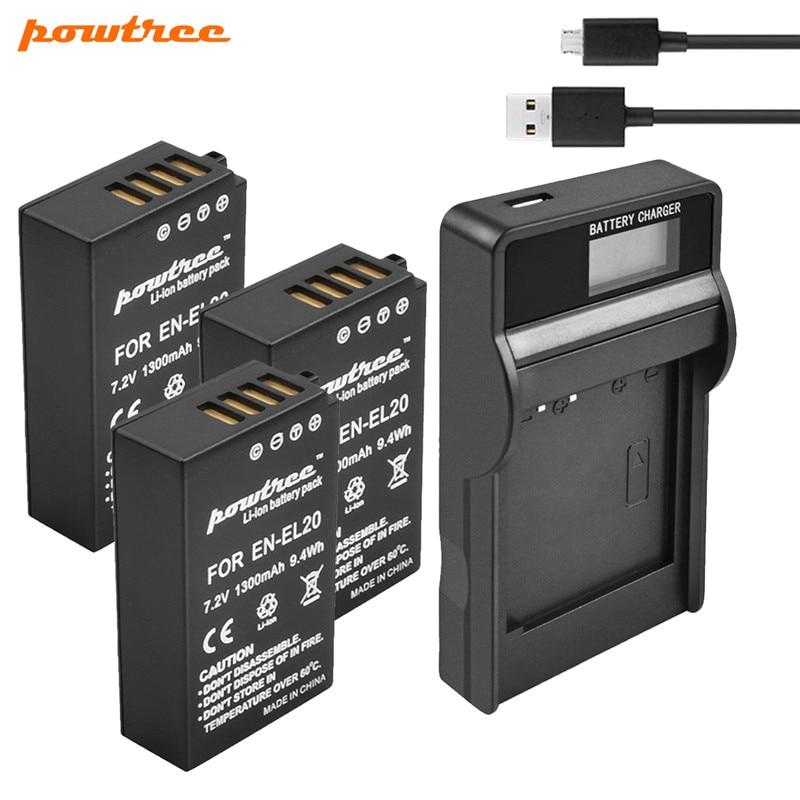 Batería 7,2 V 1300mAh EN-EL20 EN EL20 + cargador de batería LCD USB para Nikon 1 J1 J2 J3 cámara de caída libre S1 L15