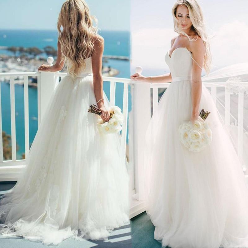 Simple Beach Wedding Dress For Women 2021 robe de mariée Sweetheart A Line Wedding Gowns Custom Made Summer Bridal Dresses