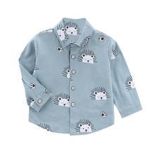 6M-4T Autumn Baby Boys Long Sleeve Cartoon Lions Print Shirts Kids Tops Tees Shirts Casual Blouse