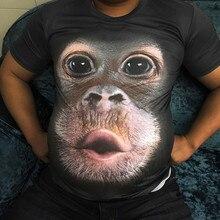 Мужские футболки с 3D принтом животных, футболка с изображением обезьяны, футболка с коротким рукавом для мужчин 2020, большой размер 6xl, забавн...